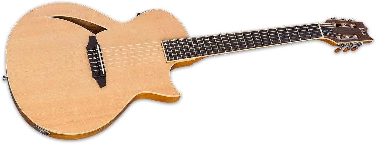 Black ESP LTD TL-6 Thinline Acoustic Electric Guitar with Resonant Chamber