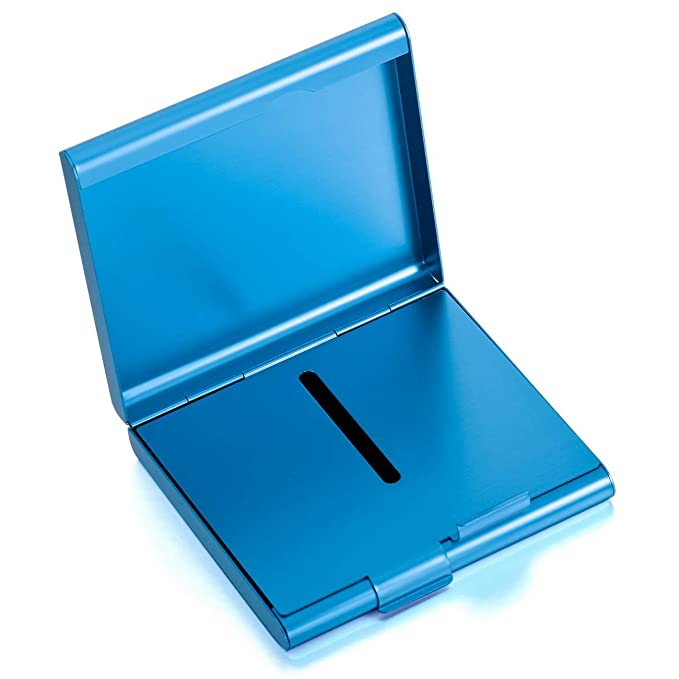 MeMeDIY Azul Aluminio Cigarrillo Porta Caja Titular Sostener 20 Grabado Personalizado