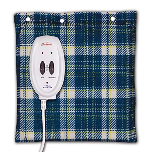 Sunbeam Heating and Massage Pad for Pain Relief | Small Flexi-Soft, 2 Heat & 2 Massage Settings with Auto-Off | Blue Plaid, 12-Inch x 12-Inch ()