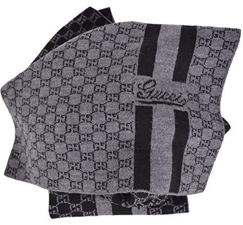 Gucci Men's Reversible Grey and Black GG Guccissima Wool Scarf by Gucci
