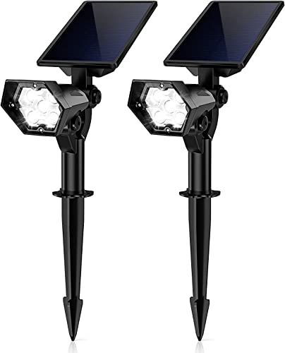 KOOPER Solar Lights Outdoor, 2 Pack Solar Spot Lights Outdoor Adjustable Waterproof Solar Powered 2-in-1 Wall Light Auto On Off for Pathway Garden Yard Driveway Pool, White Light