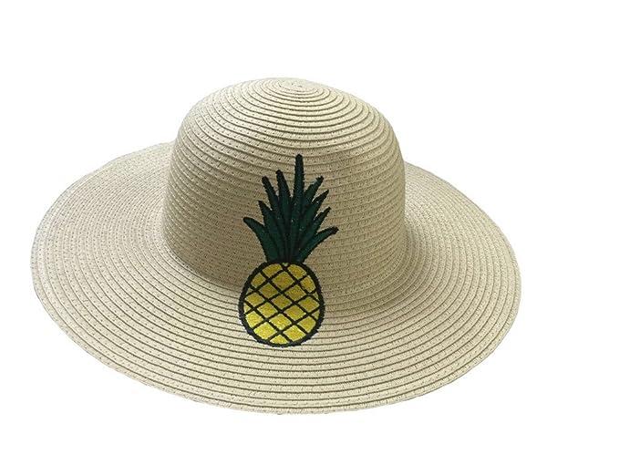 ACVIP Cappello Paglia Donna Beige con Disegno di Ananas  Amazon.it   Abbigliamento 4a01f4426f5d