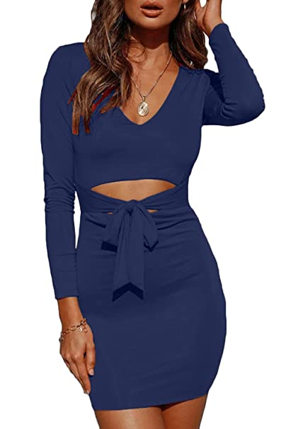 FAFOFA Women Plus Size Bandage Bodycon Dress Tie Knot Front Long Sleeve  Winter Prom Patry Dress Navy XL