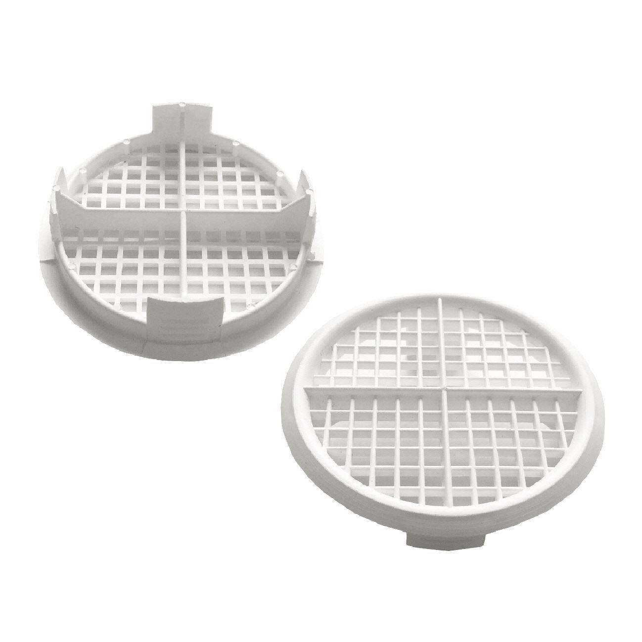 25 x 70mm White Plastic Round Soffit Air Vents / Upvc Push Fit Eaves Disc Fascia
