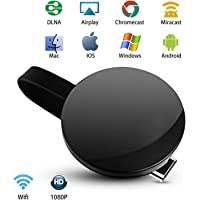 WiFi Wireless Display Dongle 1080P Mini Receiver Sharing HD Video from Projectors Cell Phones Tablet PC Support Airplay/Chromecast/Chromecast Tv/Miracast/Miracast Dongle for TV