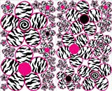 zebra print wall decals - Sm Pink and Zebra Print Flower Wall Decals / Flowers Wall Decor