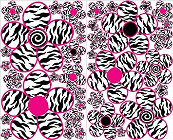 Sm Pink And Zebra Print Flower Wall Decals / Flowers Wall Decor Part 40