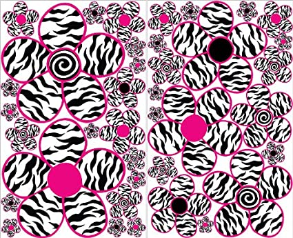 Sm Pink And Zebra Print Flower Wall Decals / Flowers Wall Decor