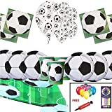 Football Party Pack Supplies Kids Birthday Tableware Football Decorations For 32 Guests - Football Party Plates Balloons - Free Balloons Pumps Candles