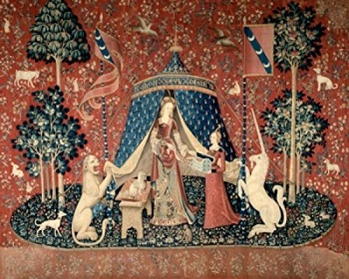 Lady and the Unicorn (La Dame Devant un Pavillon) 15th Century Tapestry (Flemish) Musee National du Moyen Age Thermes & Hotel de Cluny Paris France Poster Print (24 x ()