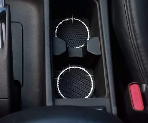 Universal Vehicle Bling Cup Holder Insert Coaster Car Interior Accessories-2.75 inch Silicone Anti Slip Crystal Rhinestone Car Coaster-Universal Pack of 2