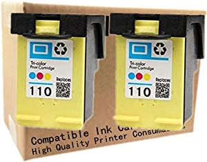 No-name Remanufactured Ink Cartridges Replacement for HP 110 XL 110XL HP110 HP110XL Photosmart A441 A444 A446 A510 A610 A620 A626 Pro B8350 A520 A820 Inkjet Printer (2 Pack)