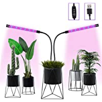 Grow Light Grow Lights for Indoor Plants Vpcok Adjustable Dual-Head LED Plant Grow Lamp 3/9/12 H Timing Switch 6 Dimmable Levels 400nm ~ 840 nm Red/Blue Spectrum Enhance Indoor Plant Photosynthesis