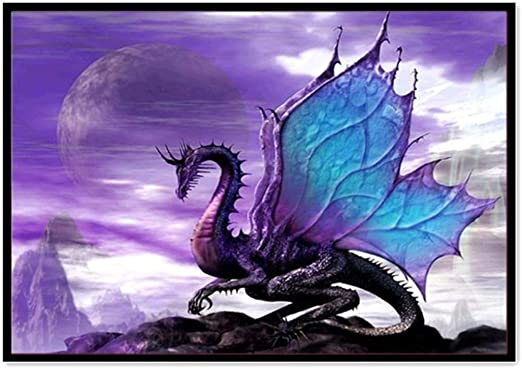 Dragons and Rose Crystal Embroidery Cross... DIY 5D Diamond Painting Kit