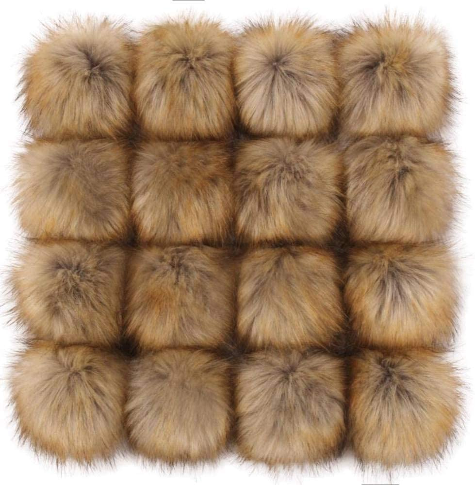 Fashion Color, 16 pcs Tengsen 12cm DIY Faux Fox Fur Fluffy pom pom Ball for Hats Shoes Scarf Bag Key Chain Accessories Knitted hat Accessories