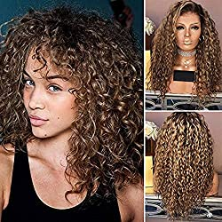 Finerplan Women's Lady Wig Long Curly Hair High Temperature Wire Fashion for Party Cosplay
