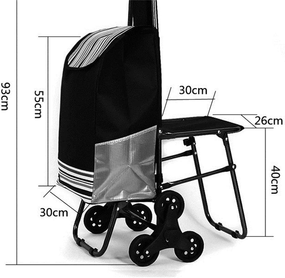 WRL/&GJP-SLC Shopping Trolley, Shopping Trolley Bearing Weight: 60Kg Color : C Collapsible Household Portable Thick Waterproof Oxford Cloth Bag Rubber Mute Wheel Trolley