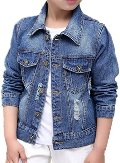 ES JEWEL Boys Kids Denim Fall Ripped Jean Jacket Coat Outwear with Hole 100/% Cotton