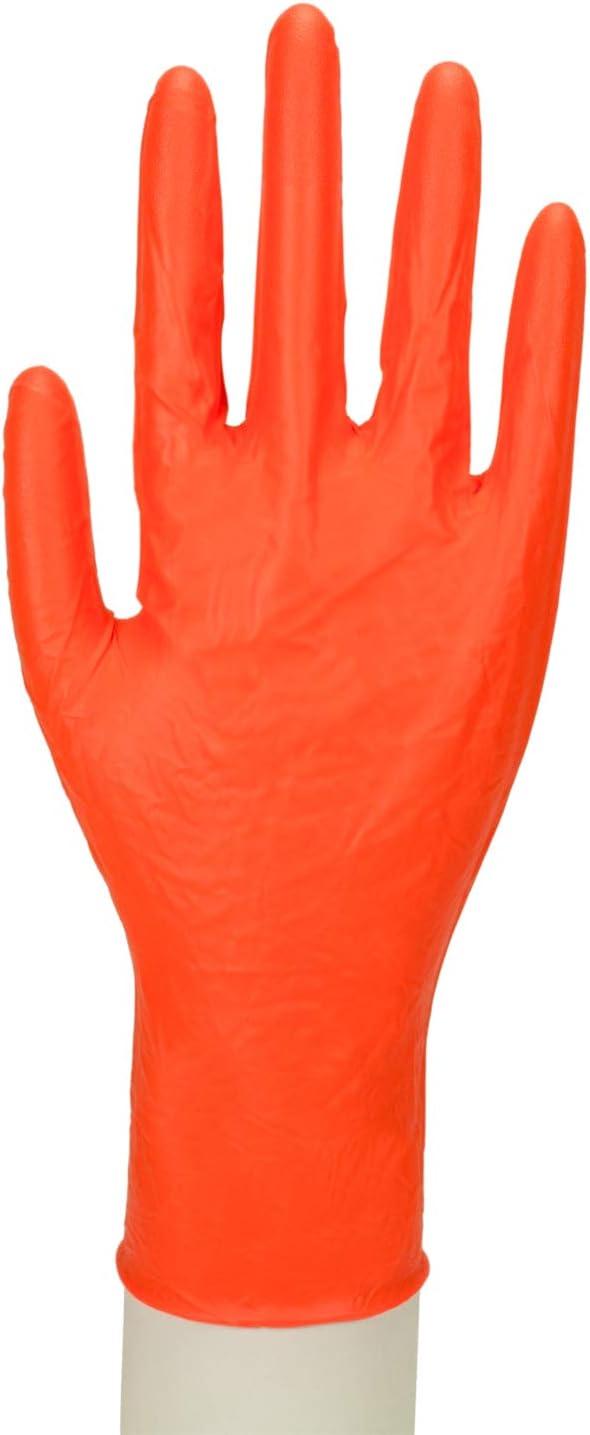 Work-Inn Lot de 100 Gants en Nitrile Orange Taille L 27 cm
