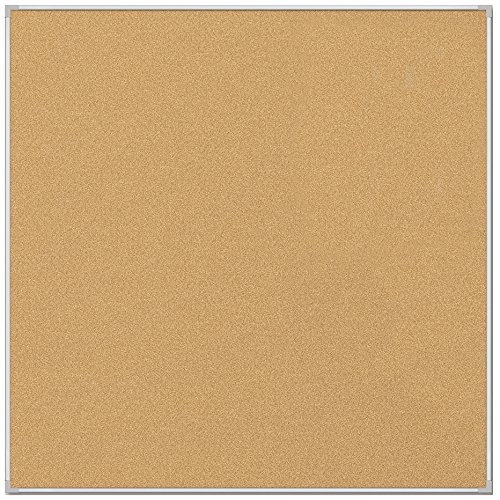 Best-Rite 4 x 4 Feet VT Logic Natural Cork Bulletin Board, Silver Ultra Trim  (E3019D) by Balt