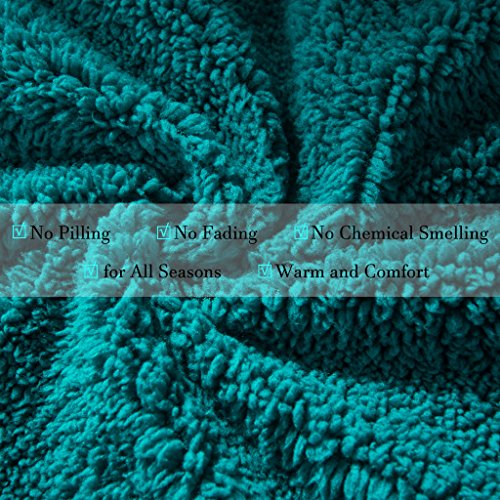 HYSEAS Sherpa Throw Blanket Teal and White - Super Soft Plush Cozy Warm Reversible Solid Blanket for Couch, Bed, Chair, Sofa - 50x60 Inch