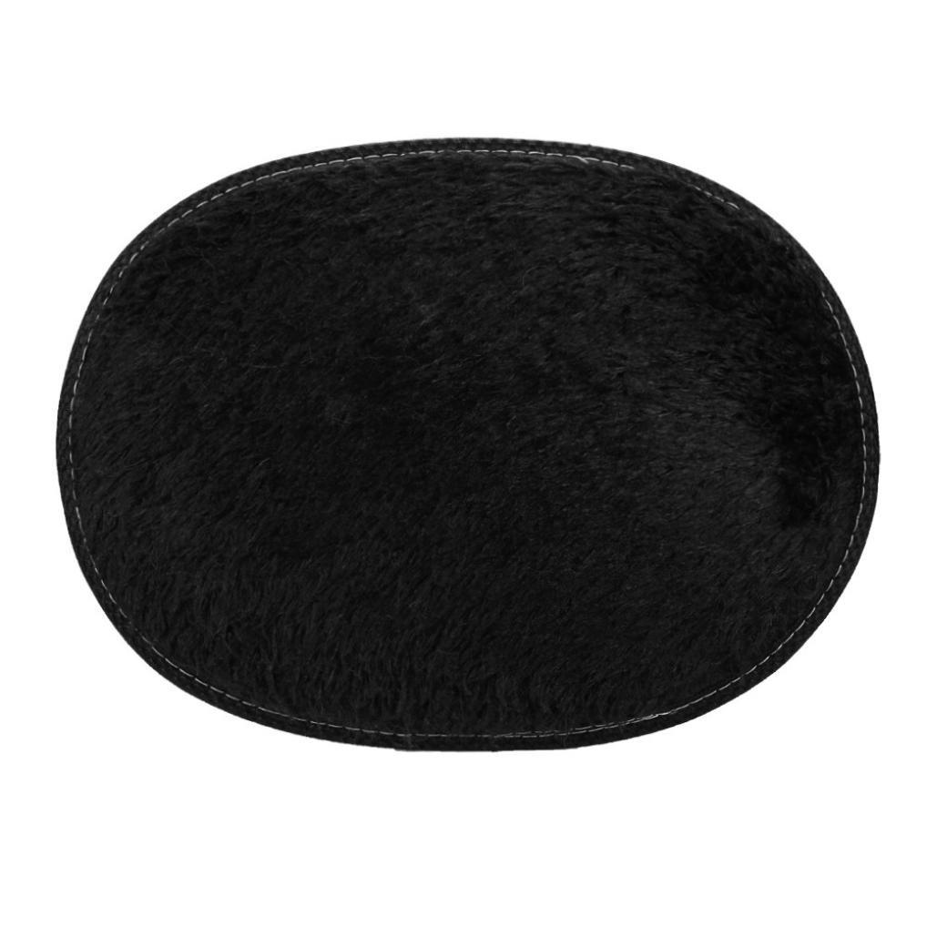 Fabal Anti-Skid Fluffy Shaggy Area Rug Home Bedroom Bathroom Floor Door Mat (30X50cm, Black)