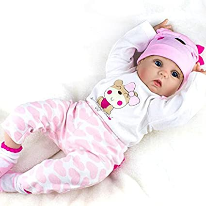 fa789208f2fe Amazon.com: Reborn Baby Dolls Girl Look Real Silicone Pink Outfit 22  Inches: Toys & Games
