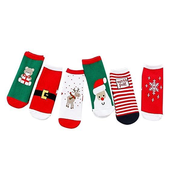 Amphia Calcetines ocasionales lindos de la Navidad de los cabritos del bebé de 6 paDs calcetines casuales lindos de los niños: Amazon.es: Ropa y accesorios