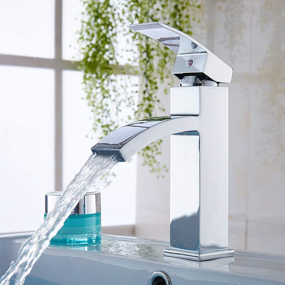 "12/"" Bathroom Sink Faucet Vanity Basin Square Mixer Tap Single Handle Polished"