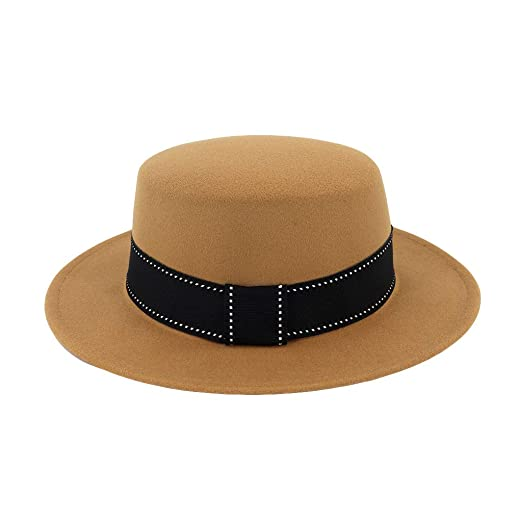 Alimao Retro style Fashion Unisex 2019 New Wide Brim Wool Felt Flat Top  Fedora Hat Party Church Trilby Hats Beige at Amazon Women s Clothing store  ecb72d8cf44a
