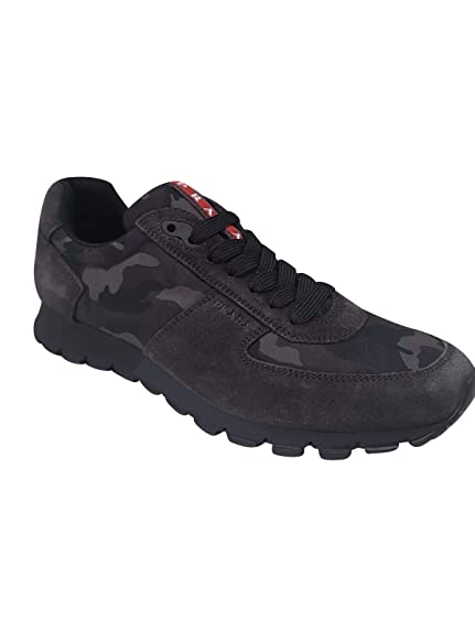 3c38a9f4 Prada Shoes Men Grey Model Scamosciato 4E2700 Fashion: Amazon.co.uk ...