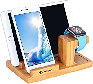 Apple Watch Stand,BAVIER Bamboo Wood Charge Dock,Charge Dock Holder,Bamboo Wood Charge Station/Cradle for Apple Watch,iPhone,Smartphone,iPhone iPad and Smartphones and Tablets (Bamboo Wood B1)