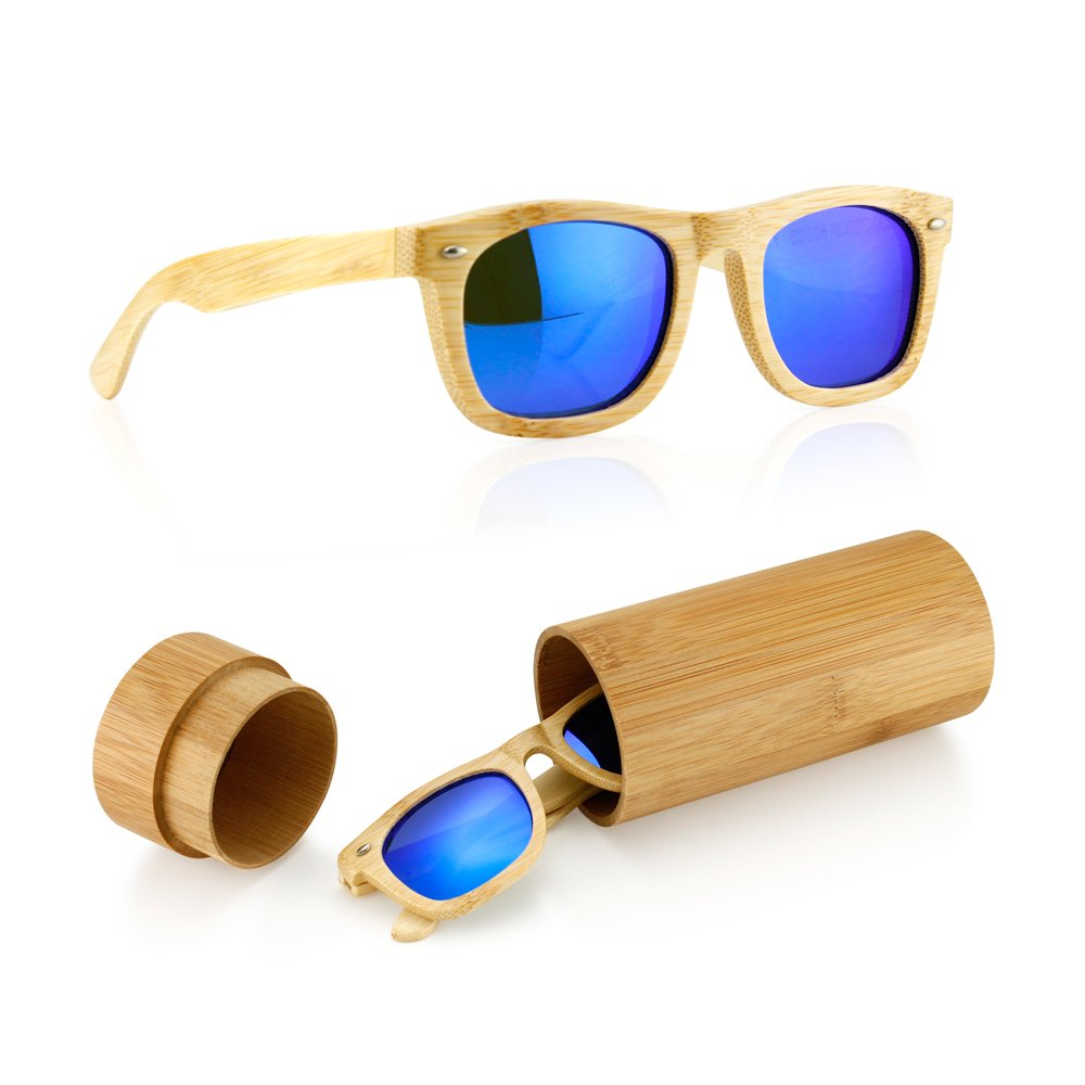 42a7030c55 Amazon.com  Polarized Genuine Bamboo lightweight Wood Entire Frame Vintage  Handcraft Sunglasses Mens Womens Eyewear with Wooden Bamboo box - Blue   Clothing