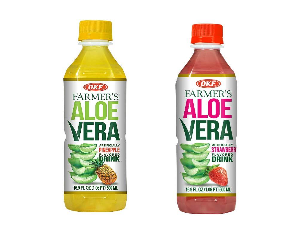 OKF Farmer's Aloe Vera Drink, Pineapple and Strawberry, 16.9 Fluid Ounce (Pack of 20 each)