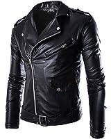 Win8Fong Men's Fashion British White/Black Leather Faux Leather Biker Jacket