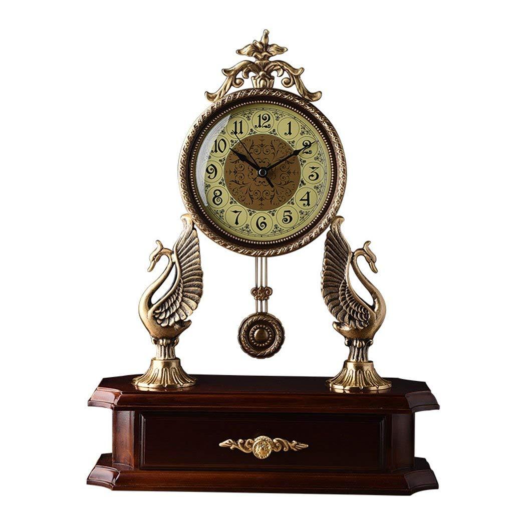 デスククロックファミリークロックマンテルクロックのリビングルームの寝室純銅クォーツ時計純木ベースのデスクトップの装飾35.5×12×35センチメートルリビングルームの寝室用オフィス B07TFCTXPS