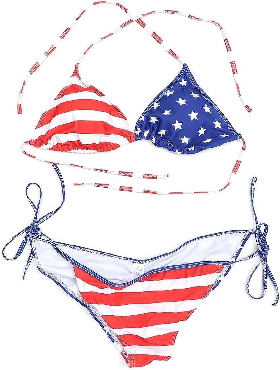 TENDYCOCO Bikini Bandera Americana de Dos Piezas Sexy Star Strip Trajes de baño Trajes de baño para Nadar en la Playa para Mujeres: Amazon.es: Ropa y accesorios