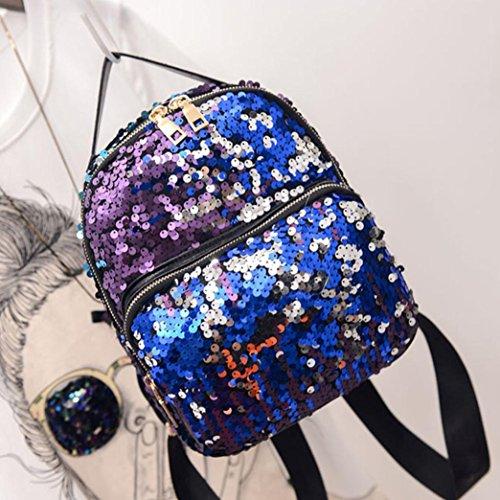 Travel Backpacks,Hemlock Girl's Sequins Bag School Backpack Bag (Blue)