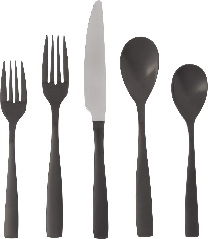 Mikasa Delano Black Satin 20 Piece Stainless Steel Flatware Set Service For 4 Kitchen Dining