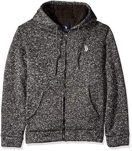 (U.S. Polo Assn. Men's Bonded Sweater Fleece Hoodie, Black Heather M )
