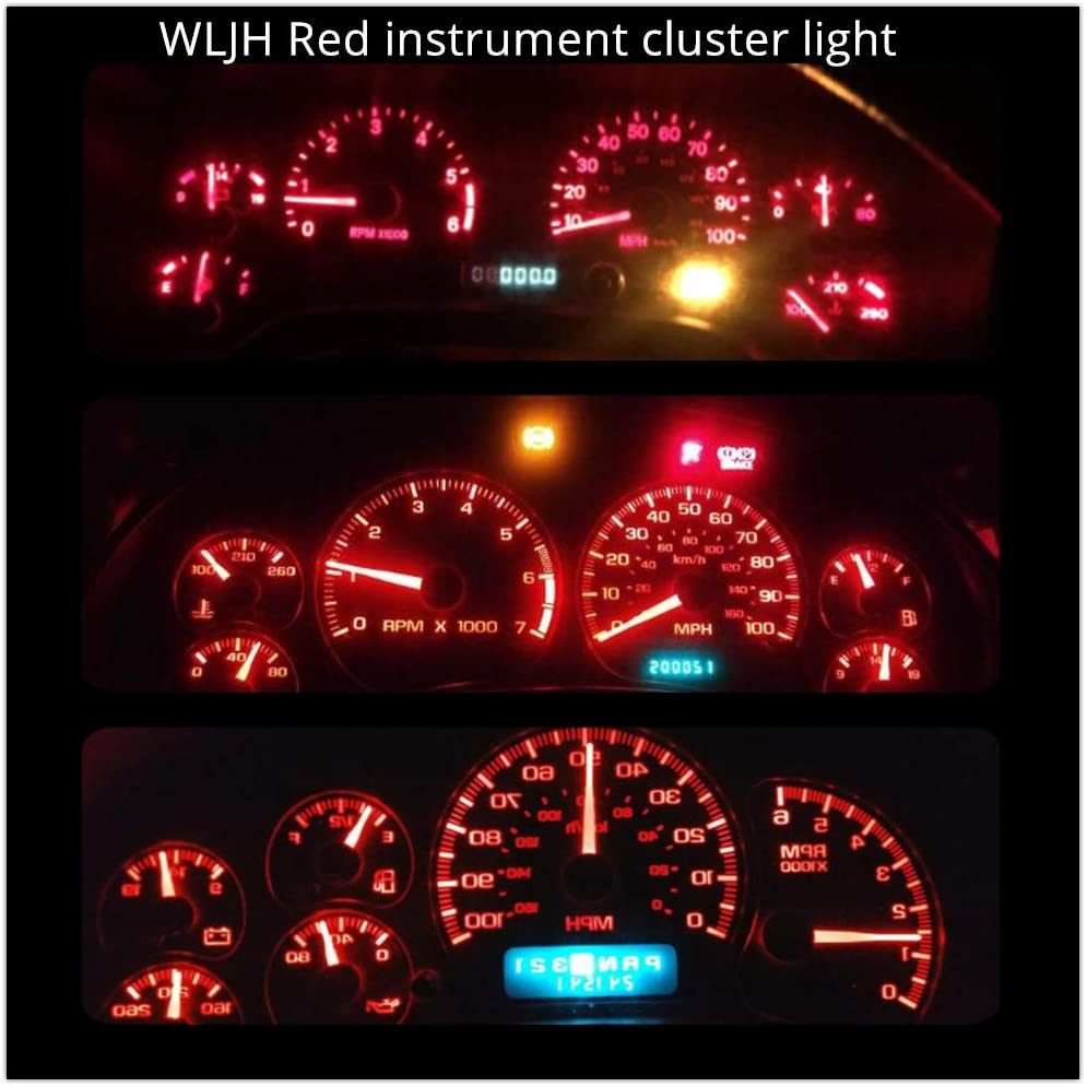 Red WLJH 6pcs Canbus Error Free T5 74 37 27 17 3-3030SMD LED Gauge Cluster Dashboard Instrument Panel Light Lamps Bulb w//Twist Lock Socket
