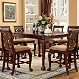 Petersburg English Style Cherry Finish 9-Piece Counter Height Dining Table Set