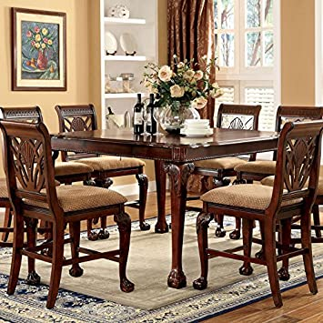 style cherry finish piece counter height dining table set costco with hidden leaf
