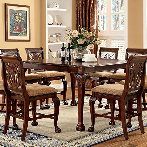 Petersburg English Style Cherry Finish 7-Piece Counter Height Dining Table Set