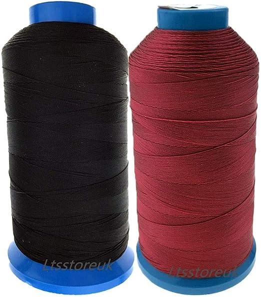 Ltsstoreuk Hilo de coser de nailon de 1500 yardas, tamaño T70#69, para tapicería, cortinas, perlas, equipaje, bolsos, cuero, zapatos, para máquina de coser, color negro y rojo, juego de 2: Amazon.es: Hogar
