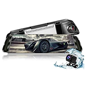 """Streaming Media Rear View Mirror Dash cam,TekBow Backup Camera 10"""" Touch Screen 1080P Rearview Front and Rear Dual Lens with Waterproof Reversing Camera"""