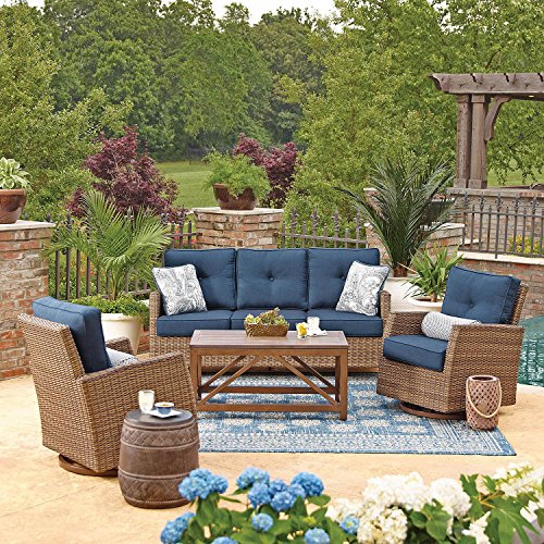 All-Weather Wicker Outdoor 4pc Patio Seating Set w/ SUNBRELLA Fabrics (Agio Wicker Furniture)