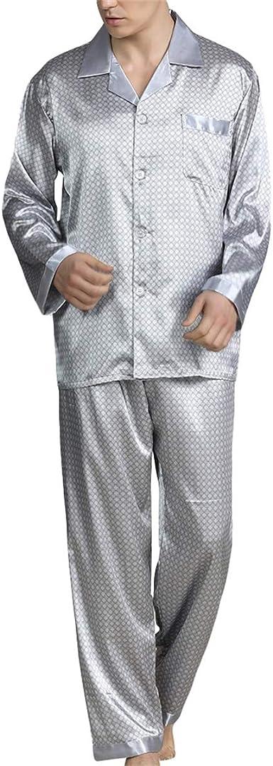 Pijama para hombre con estampado geométrico de manga larga para hombre, pijama de dos piezas delgadas