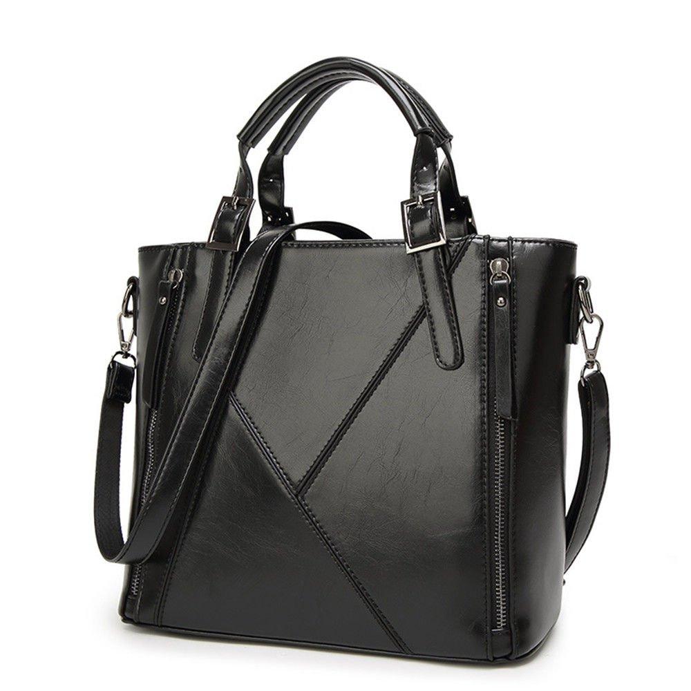 SJMMBB Skew Handbag Pu Leather Fashion Lady Bag,Black,31X26X10Cm
