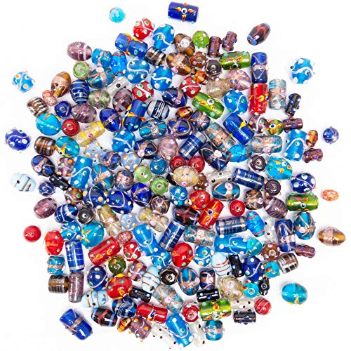 (Glass Beads for Jewelry Making Supplies for Adults, 120-140 Pcs Bulk Kits - Premium Assorted Mix of Large Craft Lampwork Murano Beads for Bracelet and Necklace Crafting Supplies)